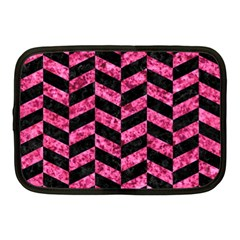 Chevron1 Black Marble & Pink Marble Netbook Case (medium)