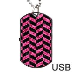 CHV1 BK-PK MARBLE Dog Tag USB Flash (Two Sides)