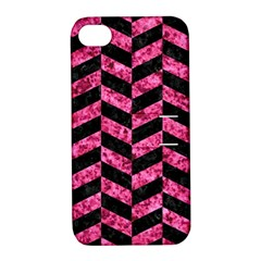 CHV1 BK-PK MARBLE Apple iPhone 4/4S Hardshell Case with Stand