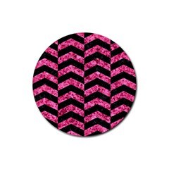 CHV2 BK-PK MARBLE Rubber Round Coaster (4 pack)
