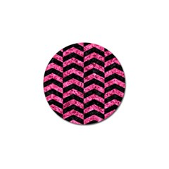 Chevron2 Black Marble & Pink Marble Golf Ball Marker (4 Pack)