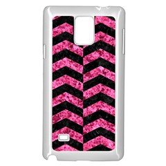 Chevron2 Black Marble & Pink Marble Samsung Galaxy Note 4 Case (white)