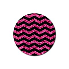 CHV3 BK-PK MARBLE Rubber Round Coaster (4 pack)