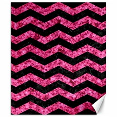 Chevron3 Black Marble & Pink Marble Canvas 8  X 10