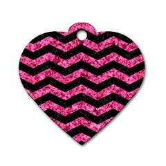 CHV3 BK-PK MARBLE Dog Tag Heart (One Side)