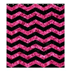Chevron3 Black Marble & Pink Marble Shower Curtain 66  X 72  (large)