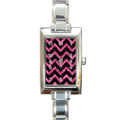 CHV9 BK-PK MARBLE Rectangle Italian Charm Watch