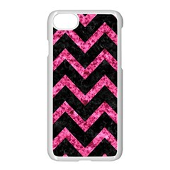 Chevron9 Black Marble & Pink Marble Apple Iphone 7 Seamless Case (white)