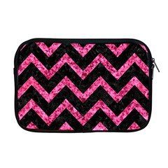 Chevron9 Black Marble & Pink Marble Apple Macbook Pro 17  Zipper Case