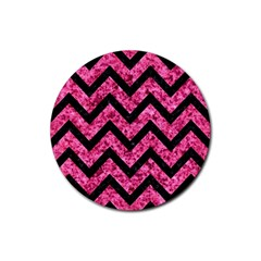 CHV9 BK-PK MARBLE (R) Rubber Round Coaster (4 pack)