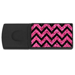 Chevron9 Black Marble & Pink Marble (r) Usb Flash Drive Rectangular (4 Gb)