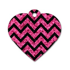 CHV9 BK-PK MARBLE (R) Dog Tag Heart (One Side)