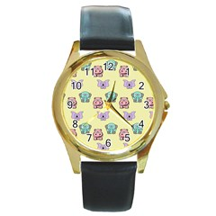 Animals Pastel Children Colorful Round Gold Metal Watch