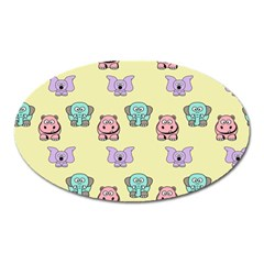 Animals Pastel Children Colorful Oval Magnet