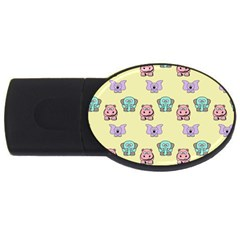 Animals Pastel Children Colorful USB Flash Drive Oval (1 GB)