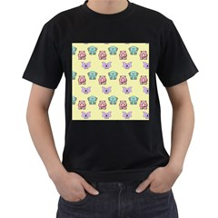 Animals Pastel Children Colorful Men s T-Shirt (Black) (Two Sided)