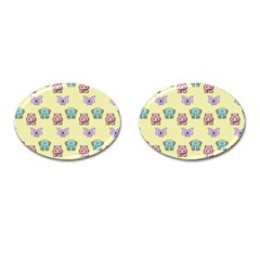 Animals Pastel Children Colorful Cufflinks (Oval)