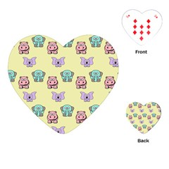 Animals Pastel Children Colorful Playing Cards (Heart)