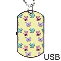 Animals Pastel Children Colorful Dog Tag USB Flash (One Side)