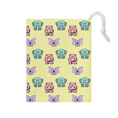 Animals Pastel Children Colorful Drawstring Pouches (Large)