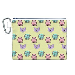 Animals Pastel Children Colorful Canvas Cosmetic Bag (L)