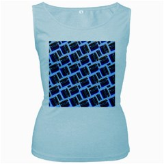 Abstract Pattern Seamless Artwork Women s Baby Blue Tank Top