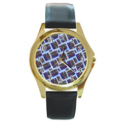 Abstract Pattern Seamless Artwork Round Gold Metal Watch