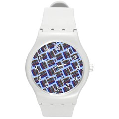 Abstract Pattern Seamless Artwork Round Plastic Sport Watch (M)