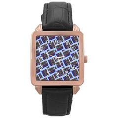 Abstract Pattern Seamless Artwork Rose Gold Leather Watch