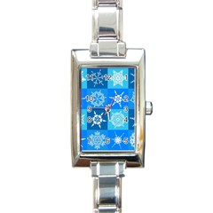 Background Blue Decoration Rectangle Italian Charm Watch