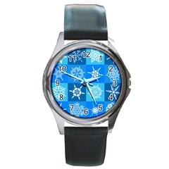 Background Blue Decoration Round Metal Watch