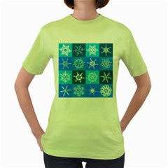 Background Blue Decoration Women s Green T-Shirt