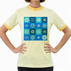 Background Blue Decoration Women s Fitted Ringer T-Shirts