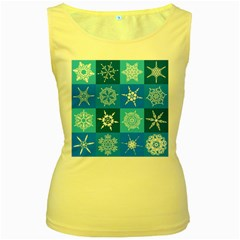 Background Blue Decoration Women s Yellow Tank Top