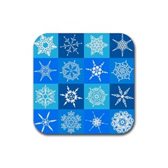Background Blue Decoration Rubber Square Coaster (4 pack)