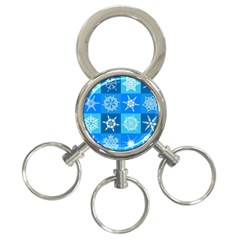 Background Blue Decoration 3-Ring Key Chains