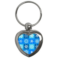 Background Blue Decoration Key Chains (Heart)