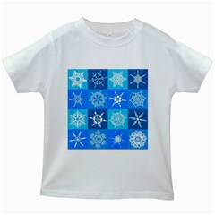 Background Blue Decoration Kids White T-Shirts
