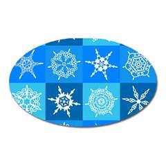 Background Blue Decoration Oval Magnet