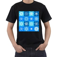 Background Blue Decoration Men s T-Shirt (Black) (Two Sided)