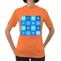 Background Blue Decoration Women s Dark T-Shirt