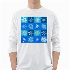 Background Blue Decoration White Long Sleeve T-Shirts