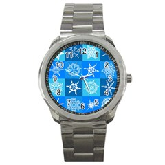 Background Blue Decoration Sport Metal Watch