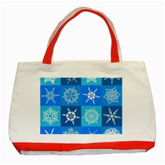 Background Blue Decoration Classic Tote Bag (Red)