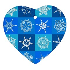 Background Blue Decoration Heart Ornament (2 Sides)