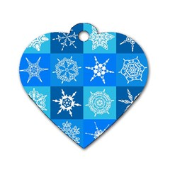 Background Blue Decoration Dog Tag Heart (Two Sides)