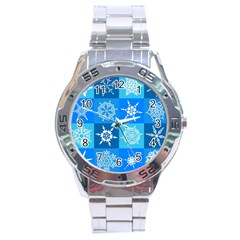 Background Blue Decoration Stainless Steel Analogue Watch