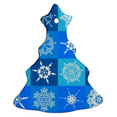 Background Blue Decoration Christmas Tree Ornament (2 Sides)