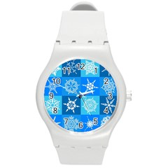 Background Blue Decoration Round Plastic Sport Watch (M)