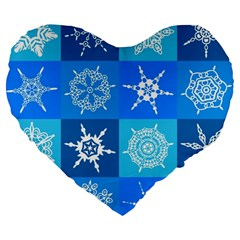 Background Blue Decoration Large 19  Premium Heart Shape Cushions